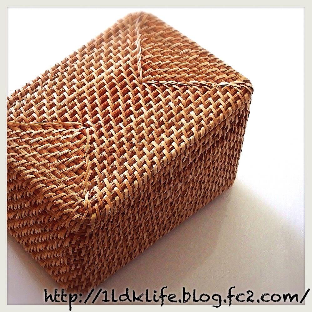 無印良品 重なるラタン長方形ボックス・ふた付