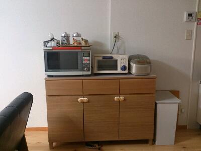電子レンジ・トースター・炊飯器がピッタリ乗ります。