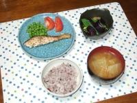 8/31 夕食 鮭のバジルオイルソテー、オクラと揚げナスの煮びたし、キャベツの味噌汁、雑穀ごはん