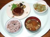 9/1 夕食 豆腐ひじきハンバーグ、刺身こんにゃく、ワカメの味噌汁、かつおのふりかけ、雑穀ごはん