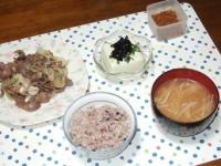 9/2 夕食 オイル漬け砂肝の長ネギ炒め、枝豆豆腐、もやしと油揚げの味噌汁、雑穀ごはん