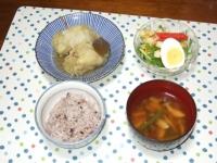 10/8 夕食 ロールキャベツ、水菜のサラダ、しめじといんげんの味噌汁、雑穀ごはん