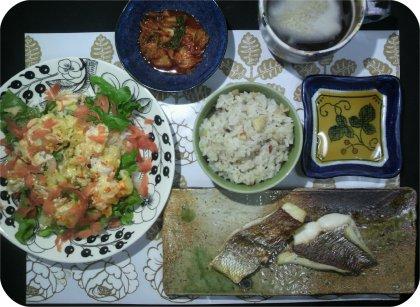 3-21海老サラダとキムチと鯛
