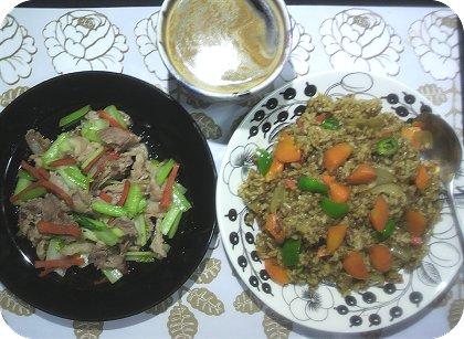 3-24カレーご飯と野菜炒め