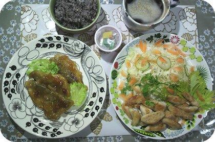 5-6夕ごはんアジ南蛮と鶏のささ身カリカリ焼き