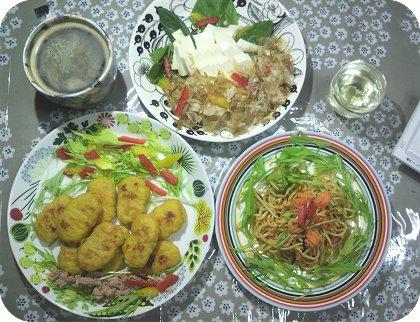 5-30朝の残り物辛子明太子麺と豆腐とナゲット