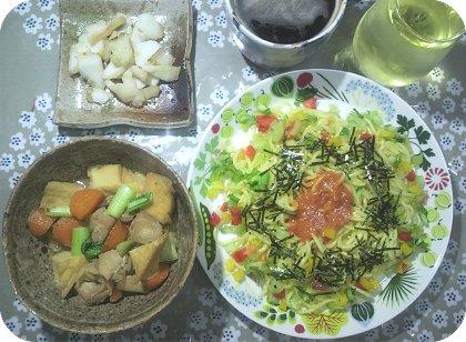 6-21人前煮物と辛子明太子麺マヨ炒め
