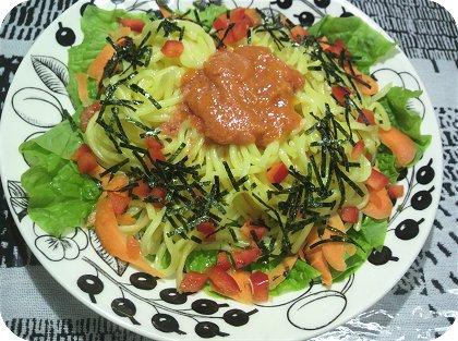 6-12イカ君カリカリ乗せサラダと辛子明太子麺3