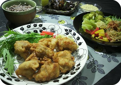 7-24 夕飯はからあげと中華風かき揚げと肝