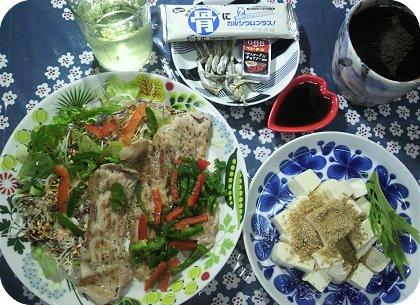 9-29豚スライスサラダにふりかけと豆腐