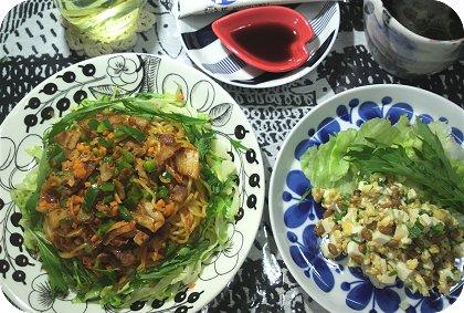 10-4たんぱく質サラダとキムチ麺