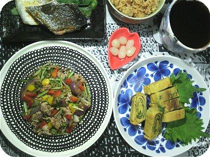 10-10大葉の卵焼きと野菜炒め