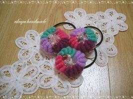コイル編みのヘアゴム フルール