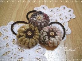 コイル編みのヘアゴム 秋色