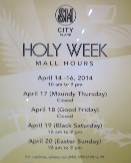 holy week mall hour