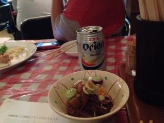 オリオンビールと土手焼き