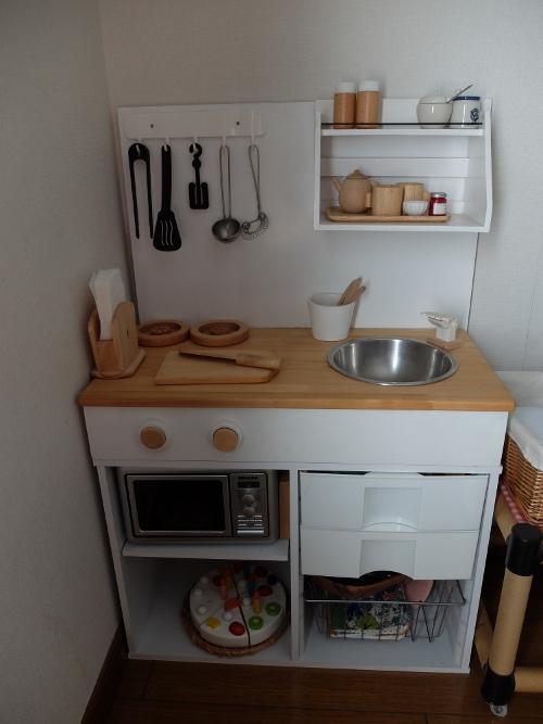 キッチン ままごとキッチン カラーボックス : ... に自作したままごとキッチン