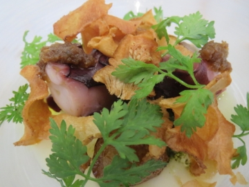 グリーンはチェルフォーリエ、明石の蛸とトピナンブールのチップス、その下にクレソンのペースト、底に新玉葱のピューレ