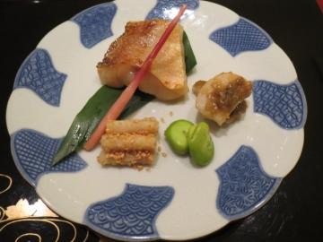 タタキ牛蒡 蚕豆 帆立の蕗味噌と