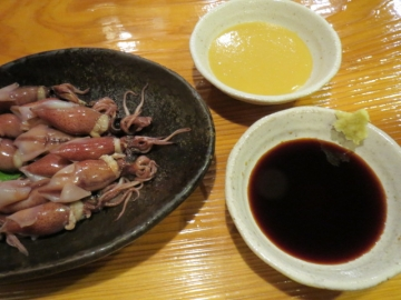 酢味噌と生姜醤油で