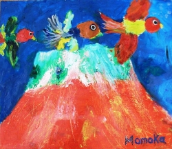 富士山と鳥