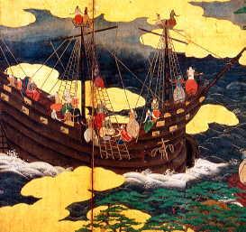 南蛮船入港図屏風