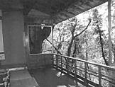 三芳庵別荘内部から外を見る