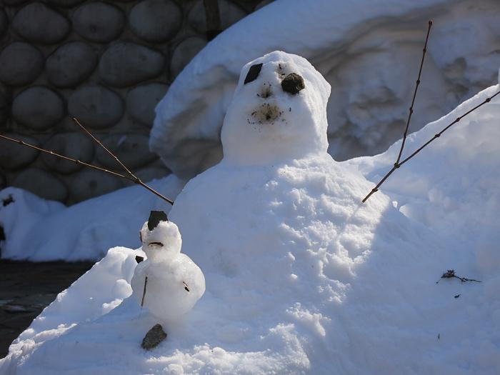 定山渓 定山源泉公園 雪だるま