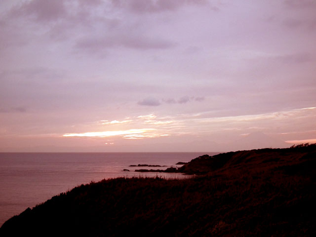 城ヶ島港園の展望台で夕日