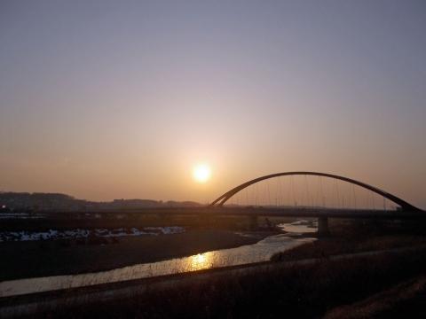 多摩大橋の日没