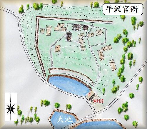 平沢官衛遺跡縄張り図