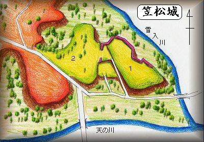 笠松城址縄張り図