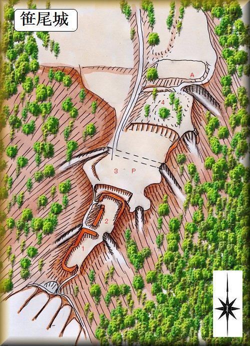 笹尾砦縄張り図