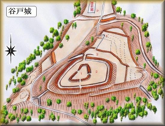 谷戸城址縄張り図