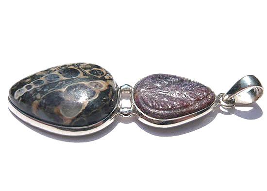 ツリテラアゲート&インドルビーカービング・コンビ ペンダント 天然石 パワーストーン silver 925 51