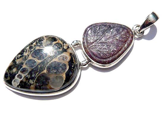 ツリテラアゲート&インドルビーカービング・コンビ ペンダント 天然石 パワーストーン silver 925 50