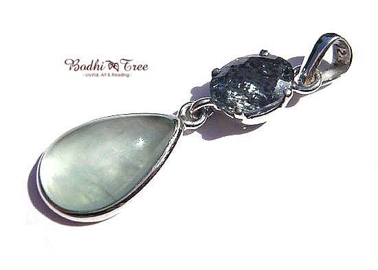 アクアマリンWフェイス ペンダント 天然石 パワーストーン silver 925 47