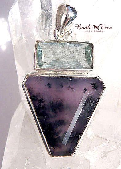 アクアマリン&アメジストセージ ペンダント 天然石 パワーストーン silver 92505