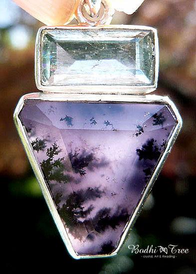 アクアマリン&アメジストセージ ペンダント 天然石 パワーストーン silver 92503