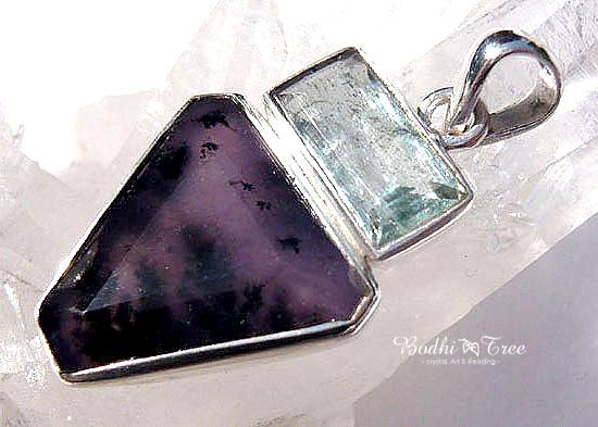 アクアマリン&アメジストセージ ペンダント 天然石 パワーストーン silver 92501