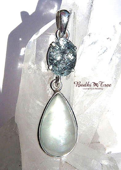 アクアマリンWフェイス ペンダント 天然石 パワーストーン silver 925 51