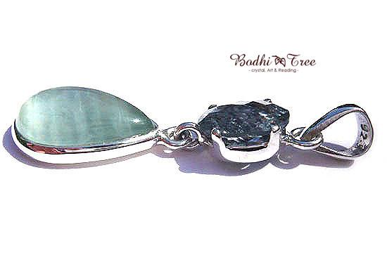 アクアマリンWフェイス ペンダント 天然石 パワーストーン silver 925 49