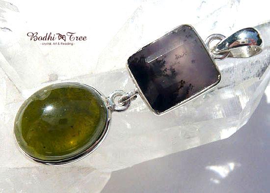 べスビアナイト&アメジストセージ ペンダント 天然石 パワーストーン silver 92518