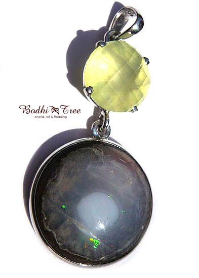 プレナイト&カンテラオパール ペンダント 天然石 パワーストーン silver 925 52