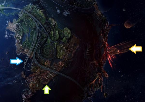 ファンタジー惑星:モロトフスフィア(火炎瓶星)右半球