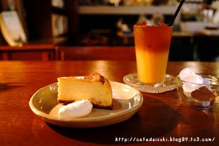 タフドア◇オレンジのチーズケーキ&オレンジアイスティー