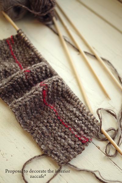 棒針編みルームソックス