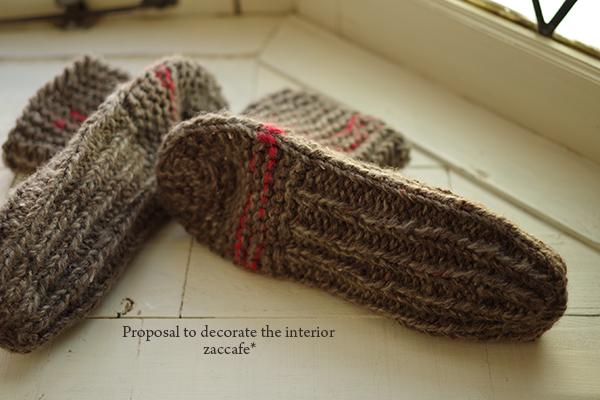 ツイードの手編みくつした