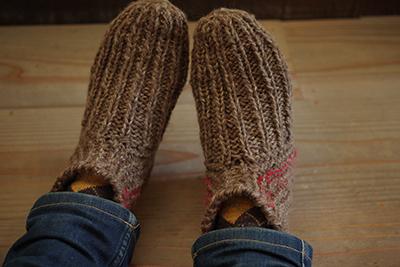 靴下on手編み靴下