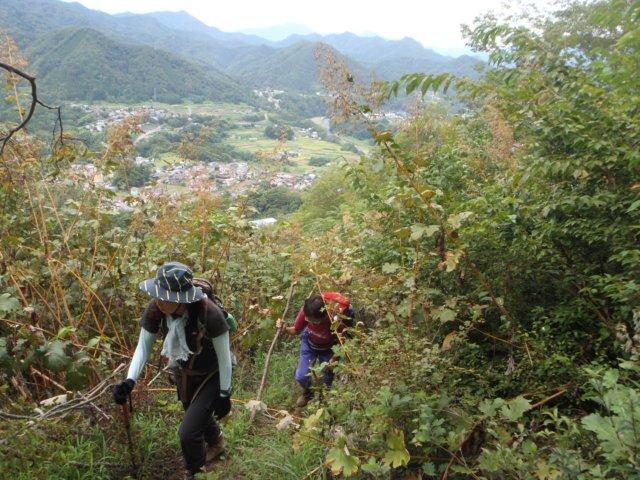 04笹子方面の山を背に尾根を登る